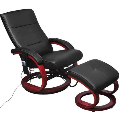 Silla reclinable eléctrico negro de TV Masaje con reposapiés