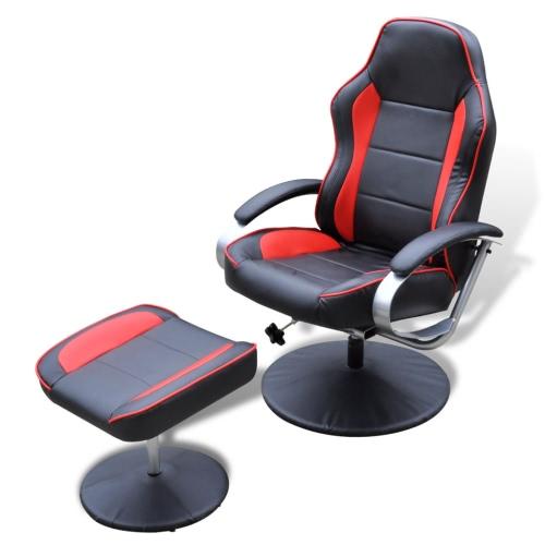 In pelle nera e rossa TV Poltrona reclinabile artificiale con poggiapiedi