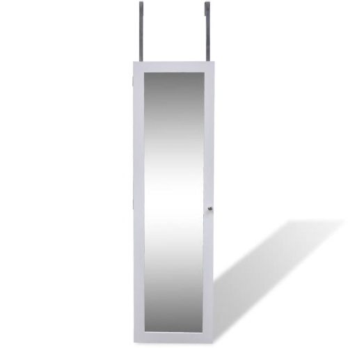 Festnight Wall Jewelry Cabinet with Mirror and 2 Door Hangers White