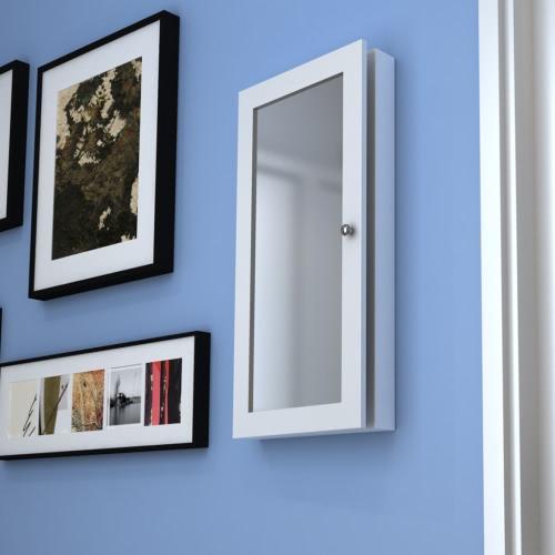 Weiße Wand Schmuck Wandschrank mit Spiegel