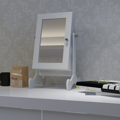 White Tabletop Wooden Jewelry Cabinet with Mirror
