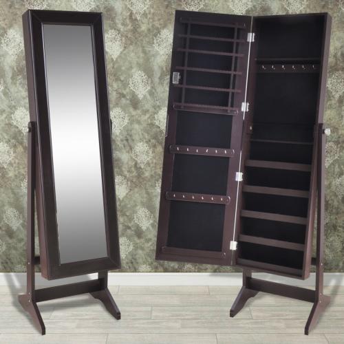 Brown gratuit Debout Bijoux Cabinet avec miroir