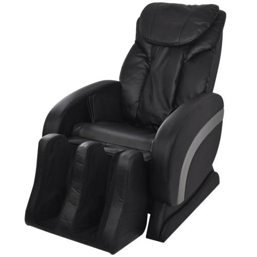 Cuero artificial eléctrica reclinable silla de masaje Negro