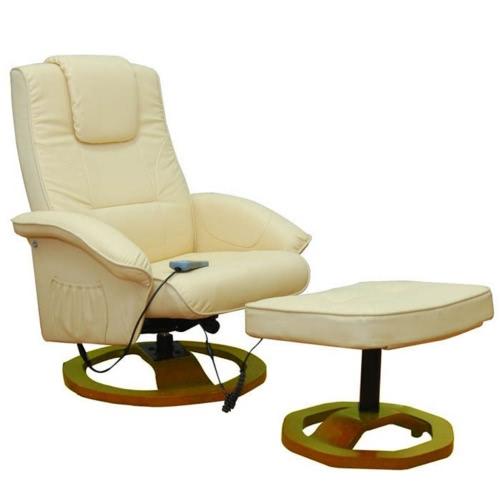 Crema eléctrica silla de masaje del cuero artificial con reposapiés