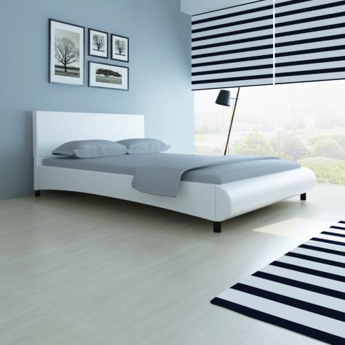 marco de la cama de cuero artificial Diseño curvo 140 x 200 cm blanco