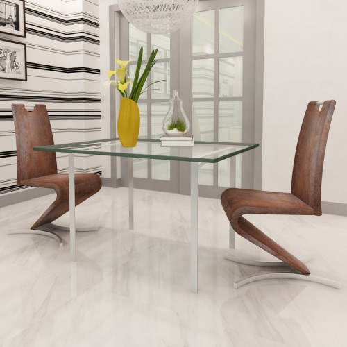 Set of 2 Brown Artificial Leather Cantilever Chair with H-shaped Foot