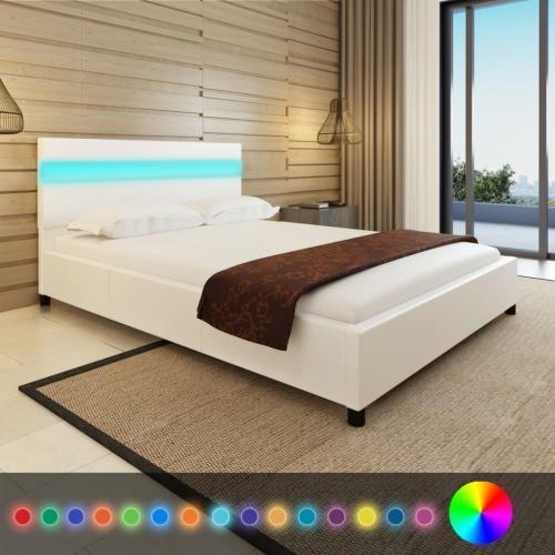Bett mit Kopfteil in LED 200 x 140 cm in weißem Kunstlederpolsterung