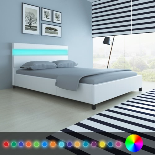 Bed with Headboard in LED 200 x 140 cm in White Faux Leather Upholstery