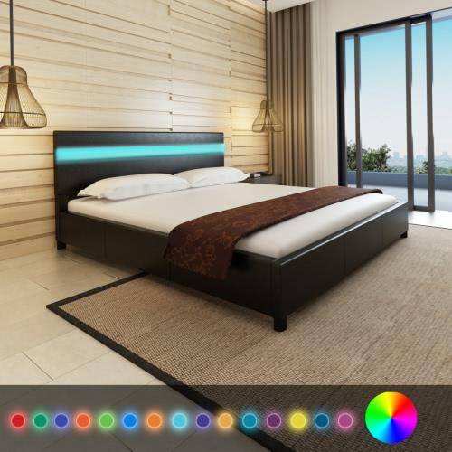 Bett mit Kopfteil in LED 200 x 180 cm schwarz Kunstlederpolster