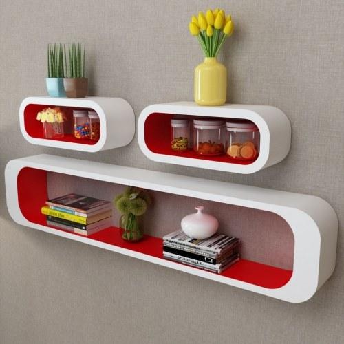 3 Scaffali a mensola per esposizione a parete con mensole in MDF bianco-rosso