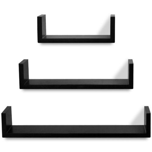 3 Espositori per libri / DVD galleggianti a forma di U in legno nero