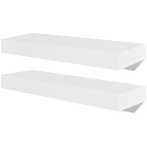 2 Espositori per libri / DVD galleggianti in MDF bianco