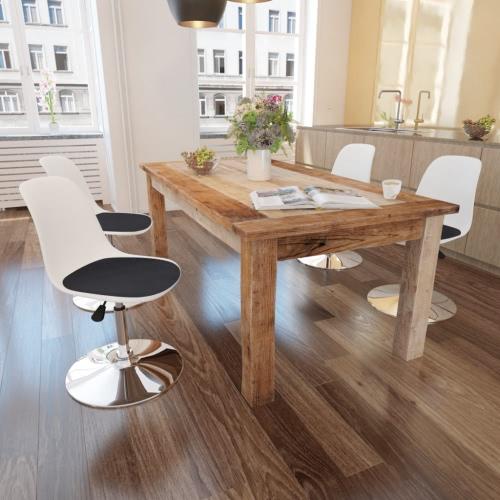 4 chaises de table noir et blanc pivotant réglable en hauteur