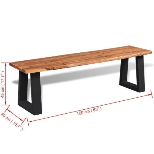 """Solid Acacia Wood Bench 63 """""""
