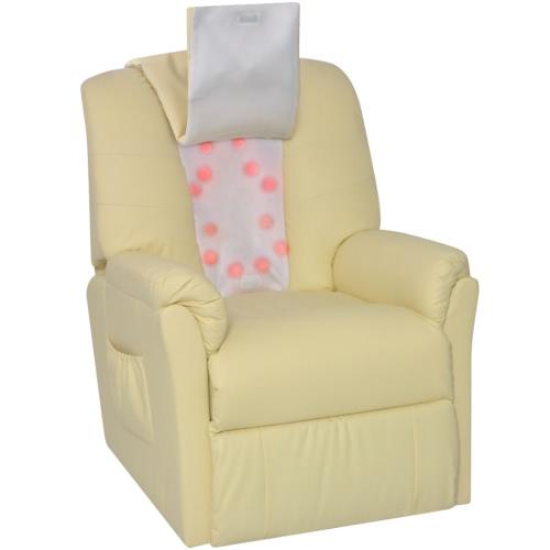 sillón masaje shiatsu blanco crema poliuretano media densidad