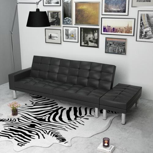 Negro ajustable Sofá cama de cuero artificial