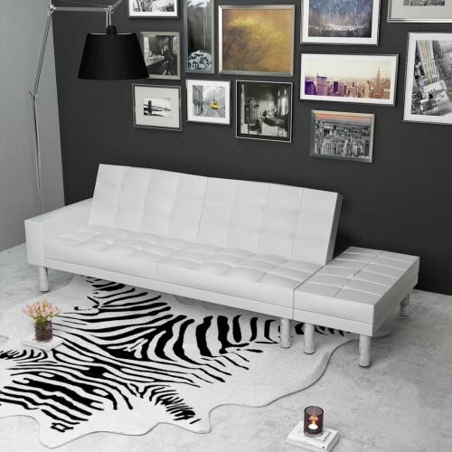 Blancos ajustable Sofá cama de cuero artificial