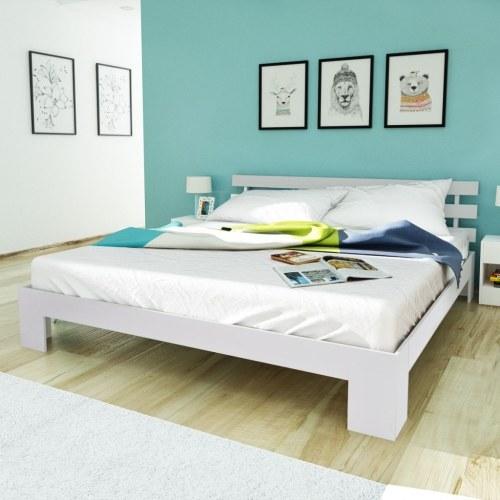 Cama de pinho sólido branco 200 x 180 cm
