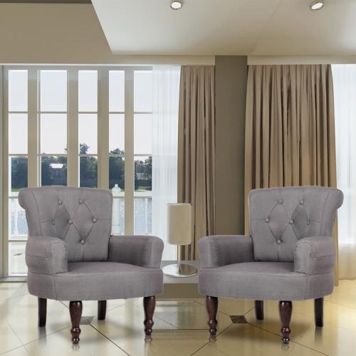2 sillas estilo francés, con reposabrazos gris