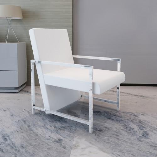 Cubo de cuero artificial Relax sillón blanco con los pies Chrome