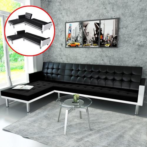 en forma de L sofá cama ajustable Negro + blanco