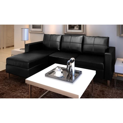 3-Seater L-shaped Artificial Leather Sectional Sofa Black
