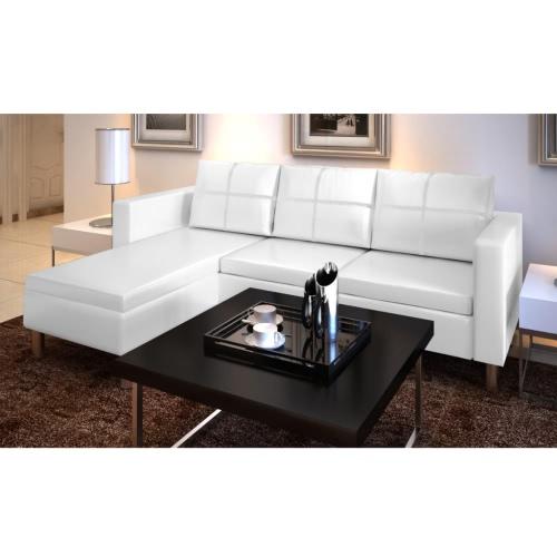 Cuero artificial en forma de L de 3 plazas Sofá seccional blanca