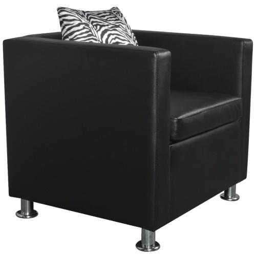 Кубическое кресло Искусственная кожа черного цвета