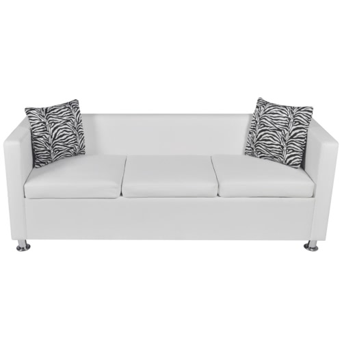Artificial Leather 3-Seater Sofa White
