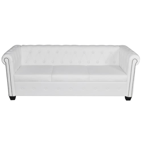 Artificial Leather Chesterfield 3-Seater Sofa White