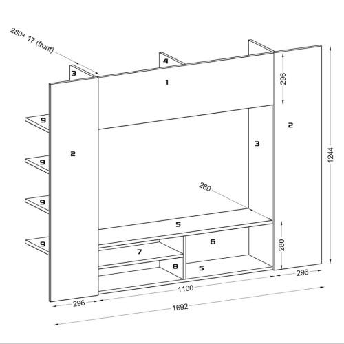 Centro di intrattenimento, mobili a parete TV LED 169,2 cm nero