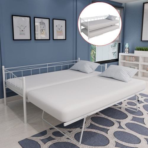 día cama somier de acero blanco 180x200 / 90x200 cm