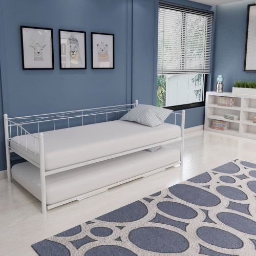 Day Bed Bed Frame 180x200 / 90x200 cm White Steel