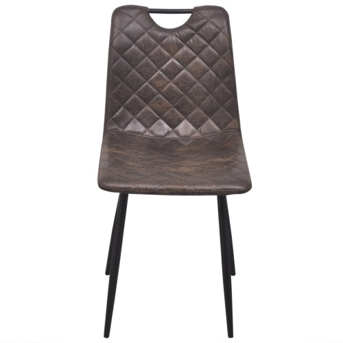 Artificial leather dining chairs 4 units dark brown