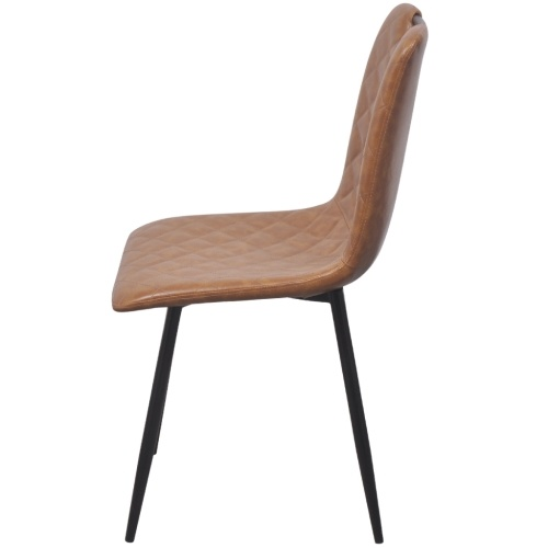 Artificial leather dining chairs 4 units light brown