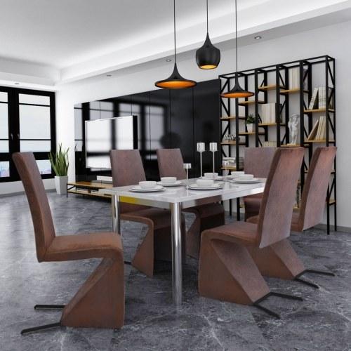 Cantilever Stoff Esszimmerstühle 2 Stück braun