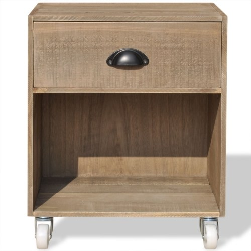 brown bedside table 2 units solid wood