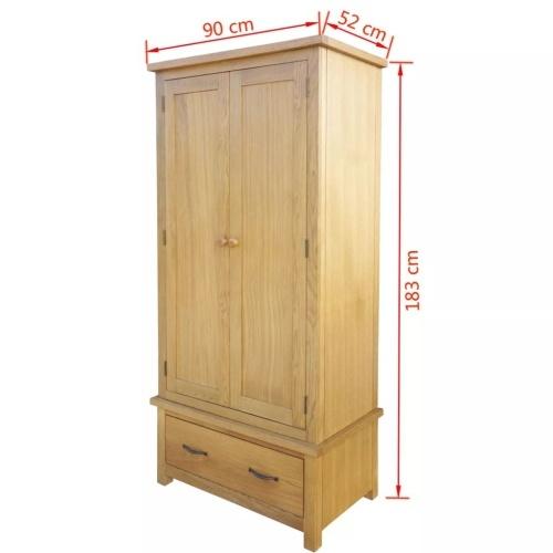 Kleiderschrank mit 1 Schublade 90x52x183 cm Eiche