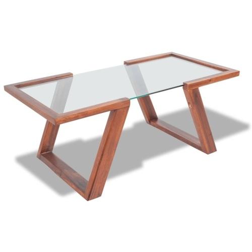 Журнальный столик из акации цельного дерева 100x50x40 см коричневый