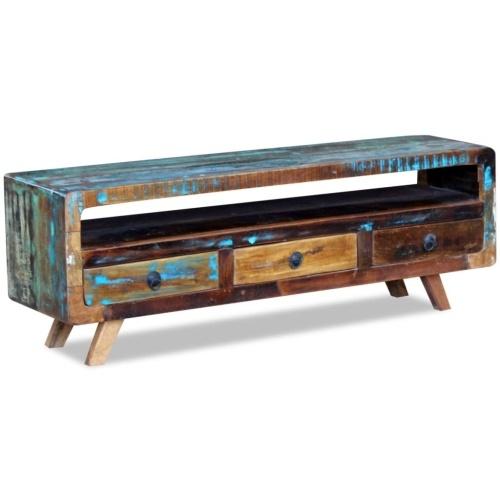 Möbel für das Fernsehen mit 3 Schubladen aus recyceltem Holz