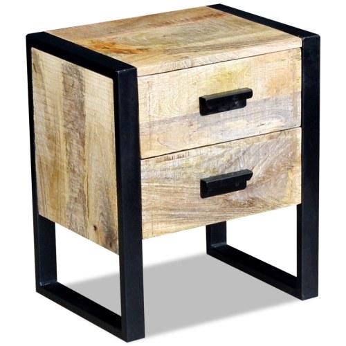 Beistelltisch mit 2 Schubladen massivem Mangoholz 43x33x51 cm
