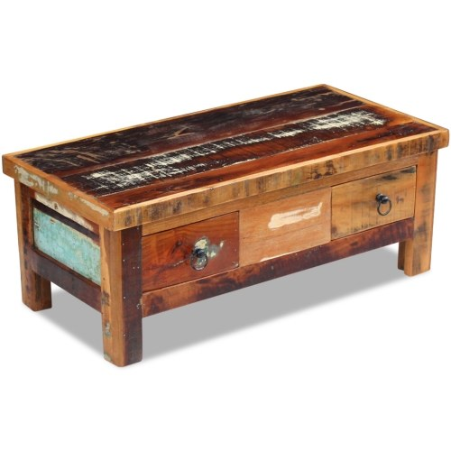 coffee table drawers solid reclaimed wood 35.4