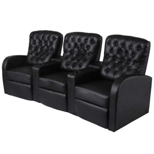 recliner sofa 3 seater black artificial leather