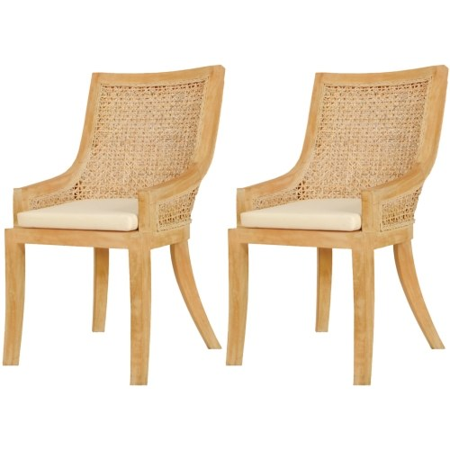 Dining Chairs 2 pcs Rattan