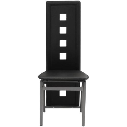 Обеденные стулья 4 шт. Черная искусственная кожа