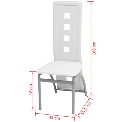 Cadeiras de jantar 4 unidades de couro artificial branco