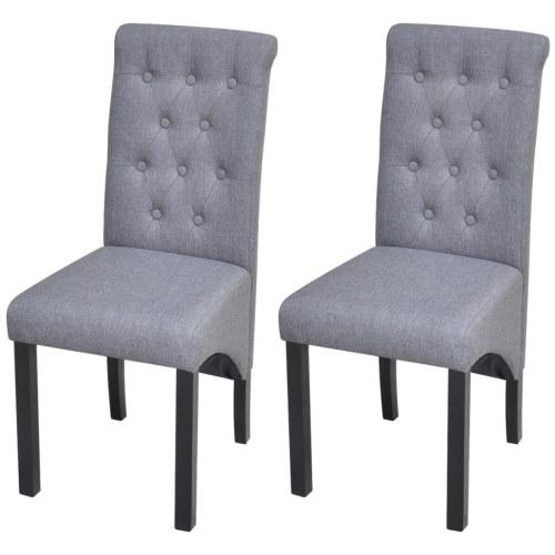 Dining Chairs 2 pcs Fabric Upholstery Dark Gray
