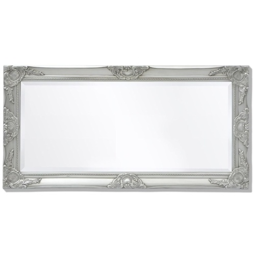 "Wall Mirror Baroque Style 39.4 ""x19.7"" Silver"