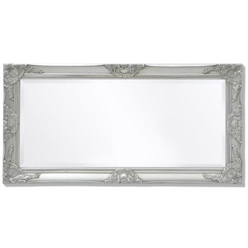 "Wall Mirror Baroque Style 39.4 ""x19.7"" Silver"