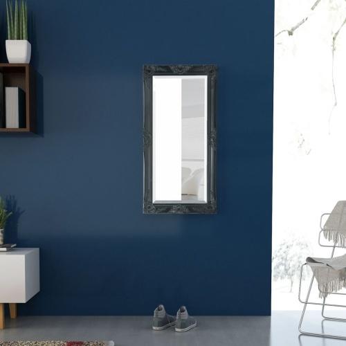"Wall Mirror Baroque Style 39.4 ""x19.7"" Черный"
